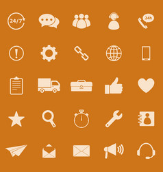 Customer service color icons on orange background vector