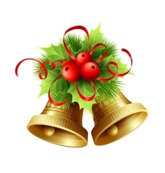Golden Christmas bells with Holly berries tinsel vector image