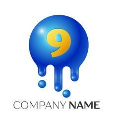 number nine splash logo blue dots and bubbles vector image