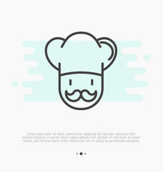 professional chef with mustache thin line icon vector image