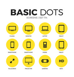 screens flat icons set vector image