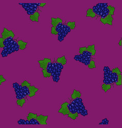 seamless pattern grapes on dark lilac background vector image vector image