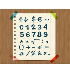 Sheet with sketch of math symbols for your design vector image vector image
