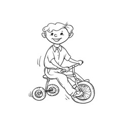 sketch boy on tricycle little child play vector image