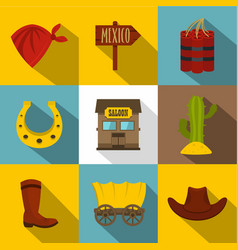 wild west things icons set flat style vector image vector image