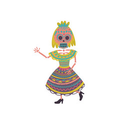 woman with sugar skull makeup in a traditional vector image