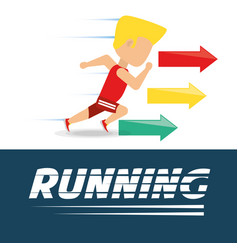 athlete man running in competition championship vector image vector image