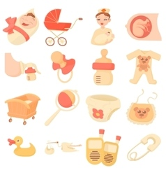 Baby born icons set cartoon style vector image vector image