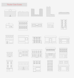building set style line icons on white vector image