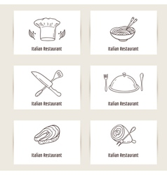 Business cards set with outline style doodle food vector image vector image