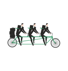 businessman on tandem business team on bicycle vector image