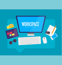 flat design workspace in messaging cloud box vector image vector image