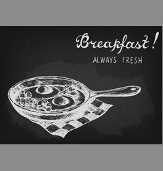 fried eggs with broccoli on the pan chalkboard vector image vector image