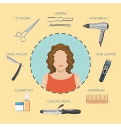 Hairdressing salon decorative icons vector