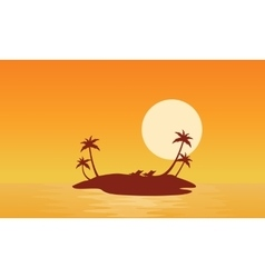 Islands scnery at sunrise of silhouettes vector image