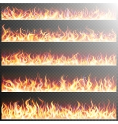 Set of realistic fire flames EPS 10 vector image