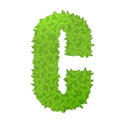 Uppecase letter C consisting of green leaves vector image