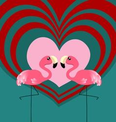Couple flamingo love vector image vector image