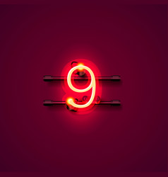 neon city font sign number 9 signboard nine vector image