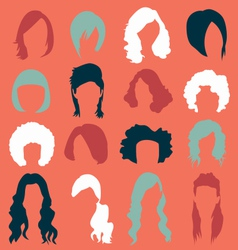 Retro Womans Hair Style Silhouettes vector image vector image