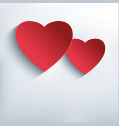 Stylish abstract background with two red 3d heart vector image