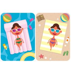 summer vacation girl vector image