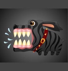 Very angry black dog cartoon character vector