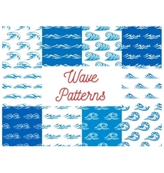Blue and white ocean waves seamless patterns set vector image vector image