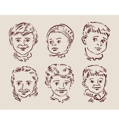 Hand-drawn faces of children sketch vector