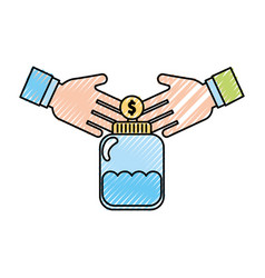 Mason jar bottle with coins vector