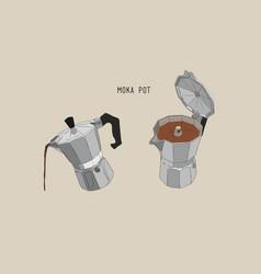 moka pot coffee brewing sketh vector image vector image