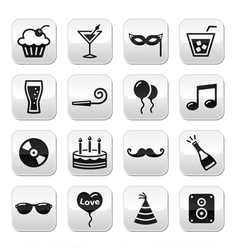 Party birthday New Year Christmas buttons set vector image vector image