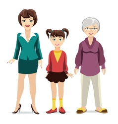 Three ages of women Daughter mother and vector image vector image
