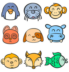 very cute animal head doodles vector image