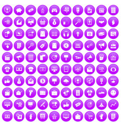 100 internet marketing icons set purple vector image