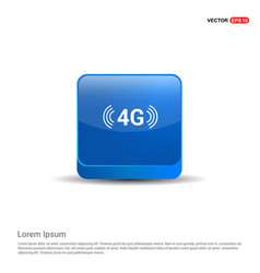 4g icon - 3d blue button vector