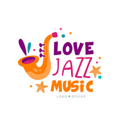 abstract music logo with saxophone for jazz live vector image