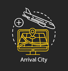 arrival city chalk icon flight destination vector image