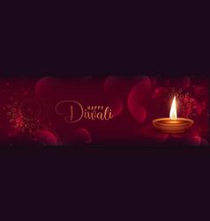 beautiful shiny diwali banner with featival diya vector image