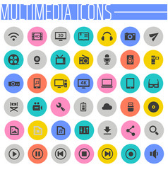 Big multimedia icon set trendy flat icons vector