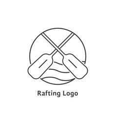 Black thin line rafting logo vector