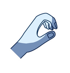 Blue color silhouette shading of hand of symbol of vector