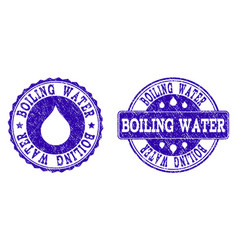 Boiling water grunge stamp seals vector