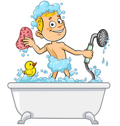 Boy having bath vector