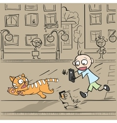 Boy with phone running for cat vector