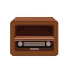 brown retro radio on a white vector image