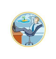 Business man dreaming about his holidays vector image