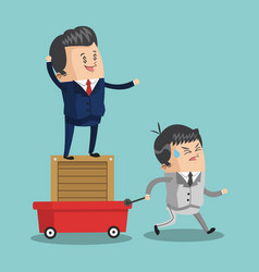businessman pulling cart with teamwork vector image