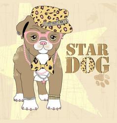 Cartoon cute fashion dog vector