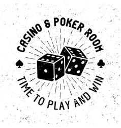 Casino and poker room round gambling emblem vector